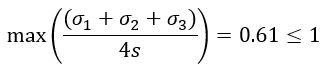 сумма локальных главных напряжений на срединной поверхности (membrane stress) должна быть меньше либо равна четырехкратному значению допускаемых напряжений S (allowable stress)