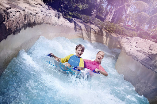 Feel the rush on the slide at Aquaventure Waterpark in Dubai.