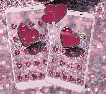 Pink Glitter Love Heart Theme - náhled