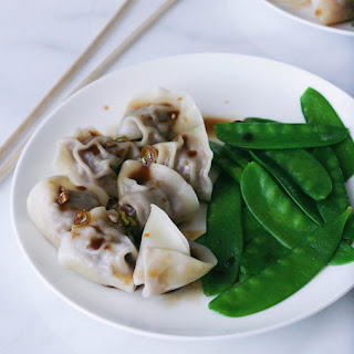 Beef Dumplings with Spicy Sesame Dipping Sauce.
