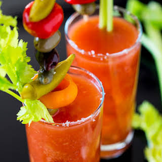 Bloody Caesar with Veggie Skewer.