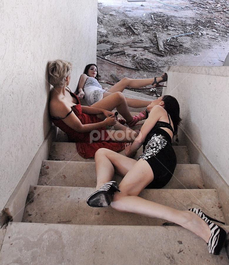 Female Party by Slavica Gavranić - City,  Street & Park  Street Scenes ( girls, sexy, drinking, female, drunk, party )
