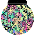 Galaxy Neon Theme:Cute Colorful Owl Live Wallpaper Icon