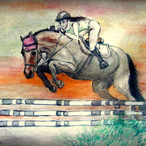 by Vesna Disich - Painting All Painting ( ride, watercolors, horse, jumper, jump )