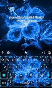Neon Blue Orchid Flower Keyboard Theme - náhled
