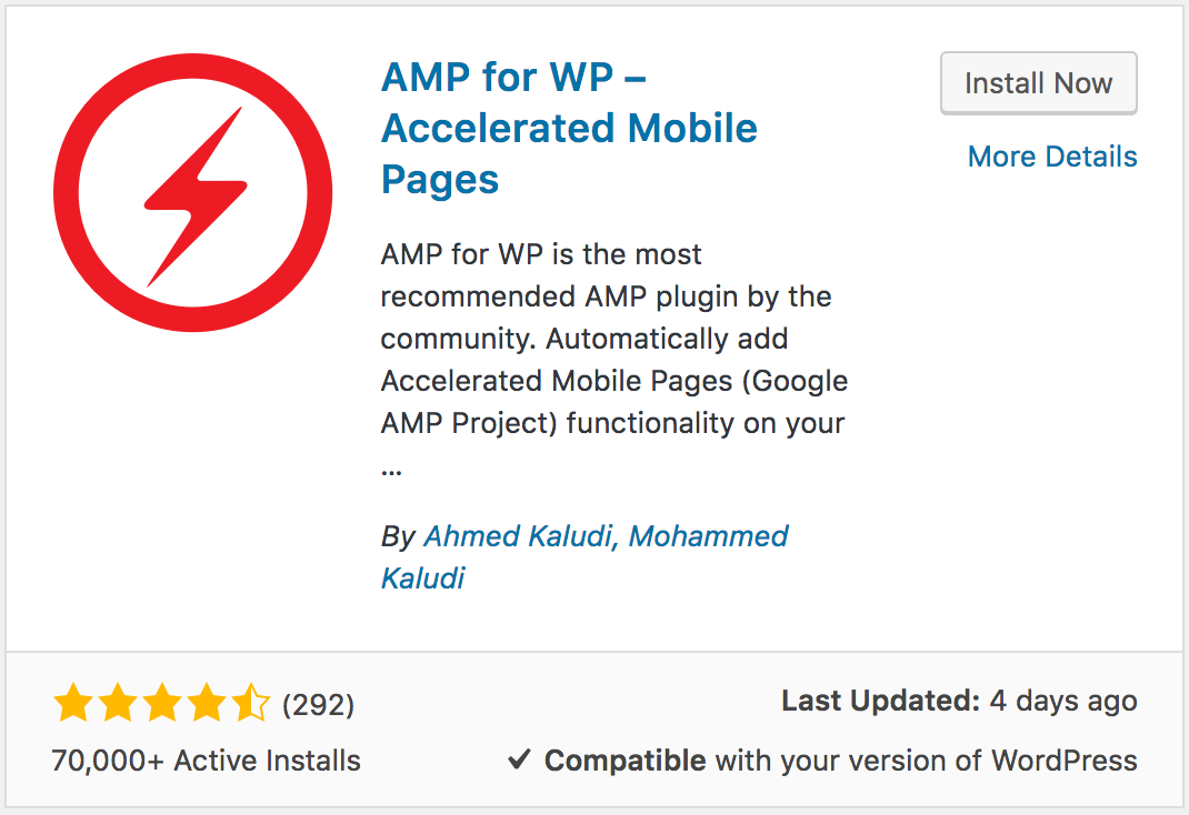 Plugin seo wordpress AMP for WP