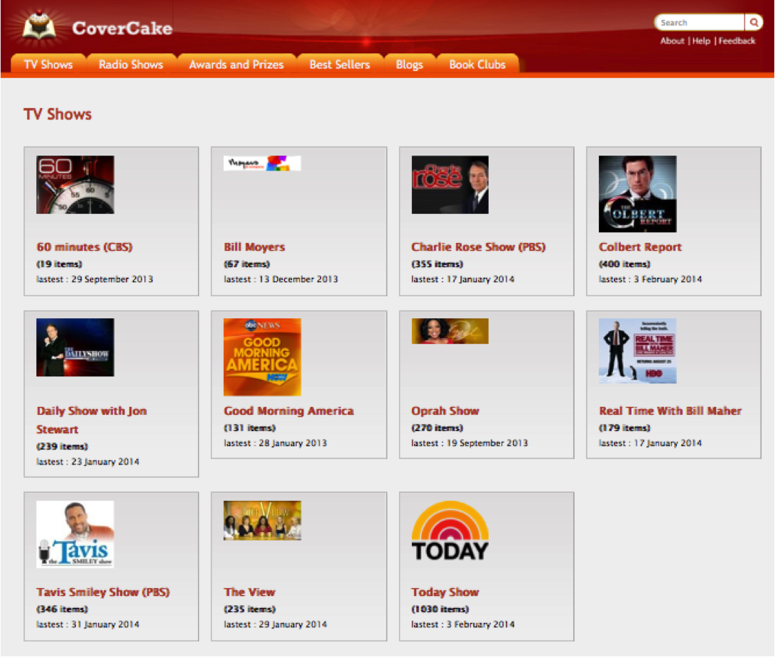 Access CoverCake from your Desktop, TV Show Lists