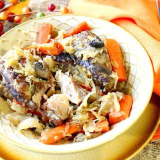 German Slow Cooker Pork Ribs with Sauerkraut.