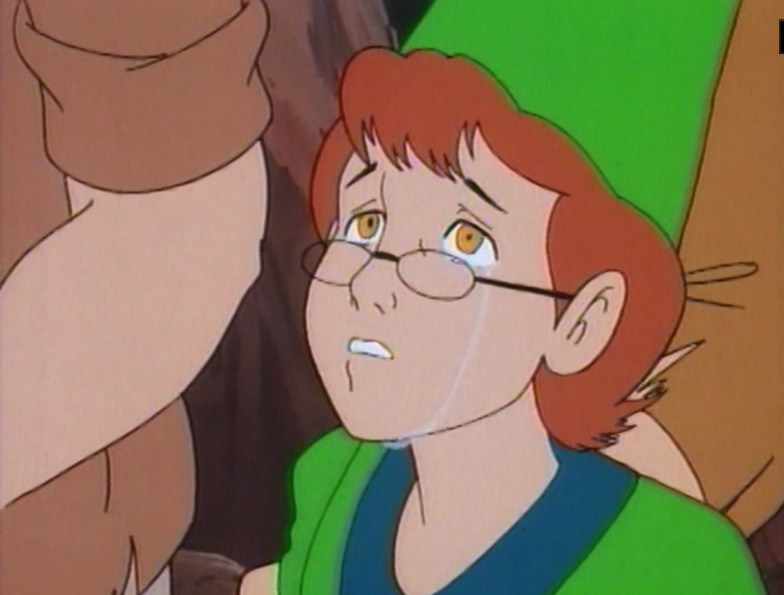 Presto cries, while looking up