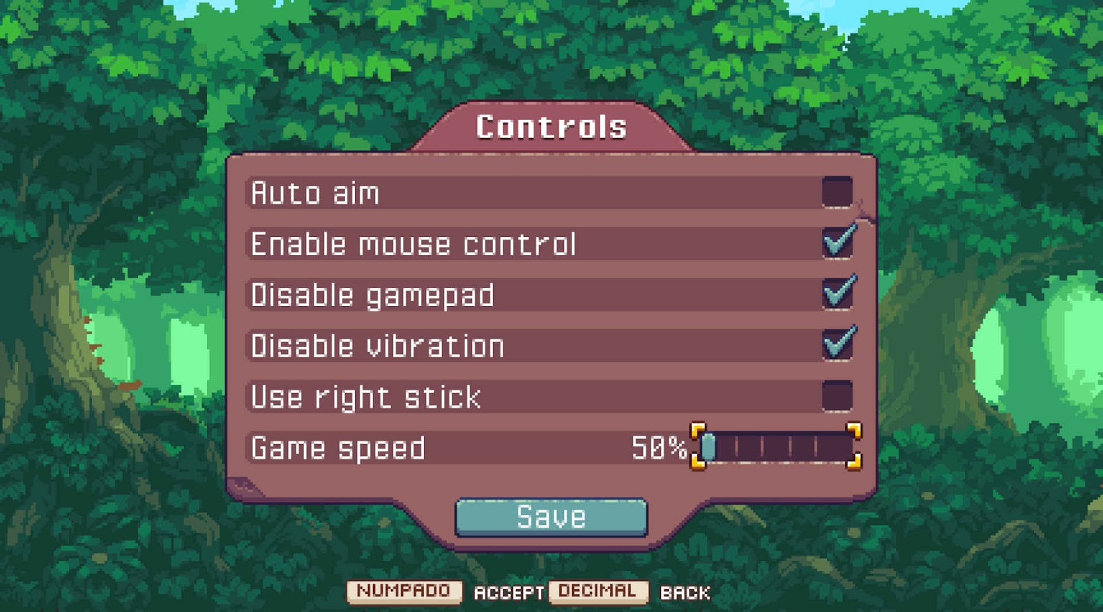 Auto aim, enable mouse control, disable gamepad, disable vibration, use right stick and game speed control.