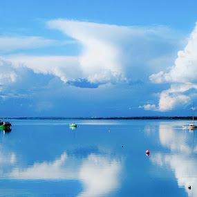 Sailing still Seas by Brendan Mcmenamy - Novices Only Landscapes ( reflection, seas, cloud, still, sail )