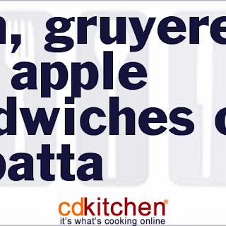 Ham, Gruyere And Apple Sandwiches On Ciabatta.