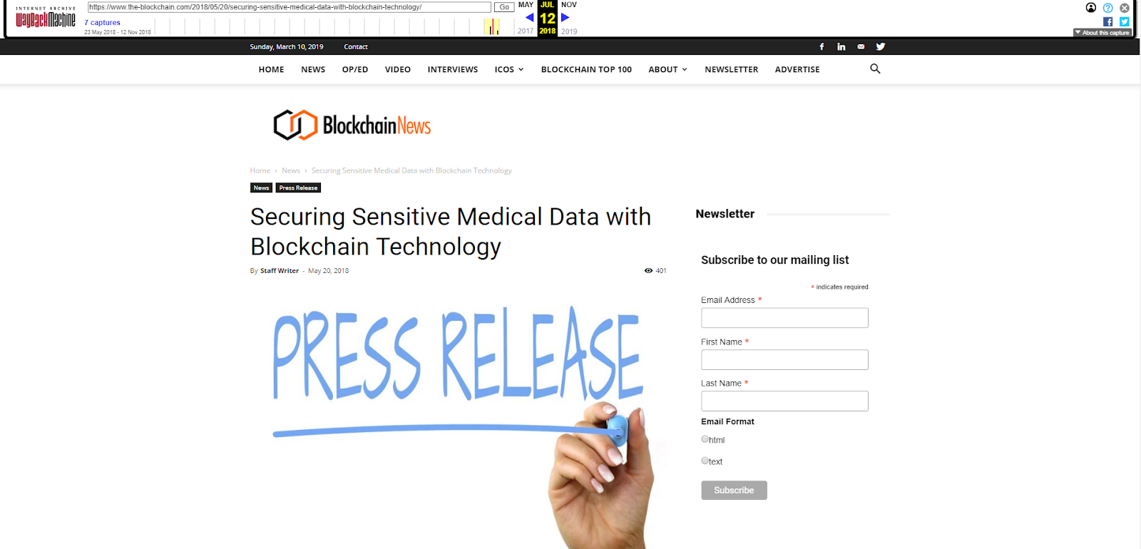 Securing Sensitive Medical Data with Blockchain Technology