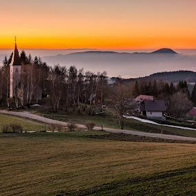 Morning on Pohorje hill by Peter Zajfrid - Landscapes Mountains & Hills ( sky, pohorje, slovenija, church, sunrise )
