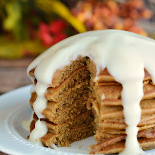 Gingerbread Pancakes with Warm Cheesecake Sauce