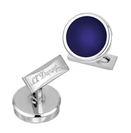 S.T.Dupont Manschettknapp Round Blue / Palladium
