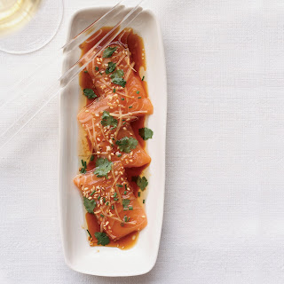 Salmon Sashimi with Ginger and Hot Sesame Oil.
