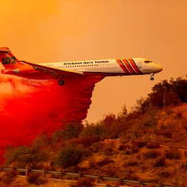 Holy Fire Drop by Mark Ritter - Transportation Airplanes ( drop, lake elsinore, wildfire, airplane, hills, smoke, california, retardant, holy fire )