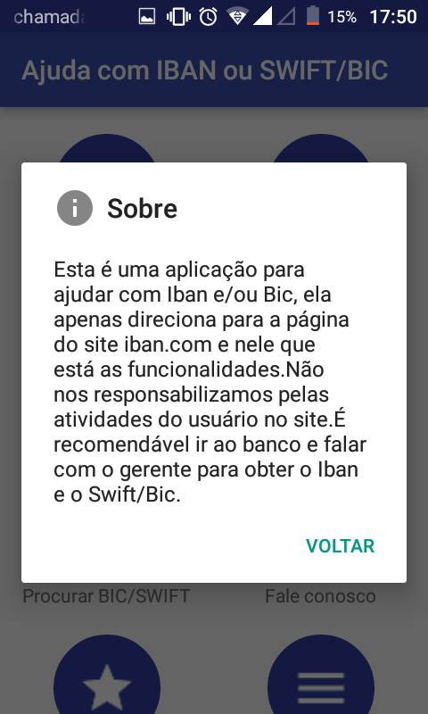 Ajuda com IBAN ou BIC/SWIFT: captura de tela