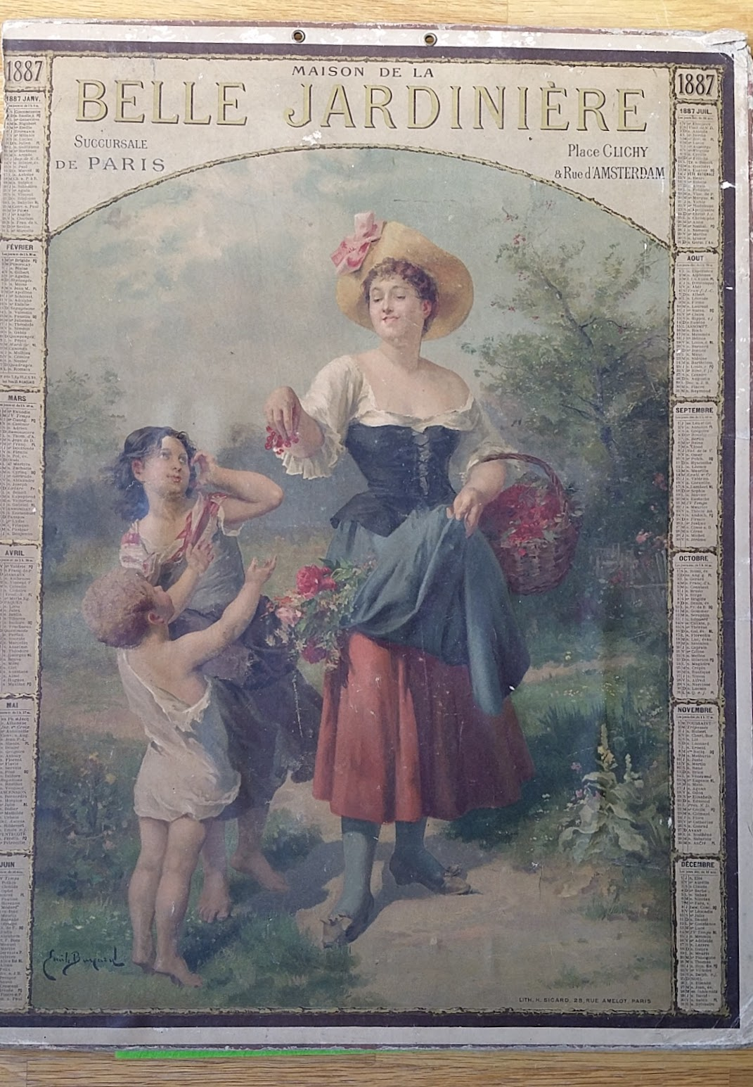Kalender für Maison de la Belle Jardiniere, Paris - 1887 - Émile Bayard und Henri Sicard