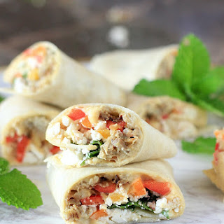 Sabra Hummus Veggie Wraps with Eggplant, Peppers, Mint, & Feta Cheese Recipe