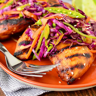 Asian Grilled Chicken with Snap Pea Slaw