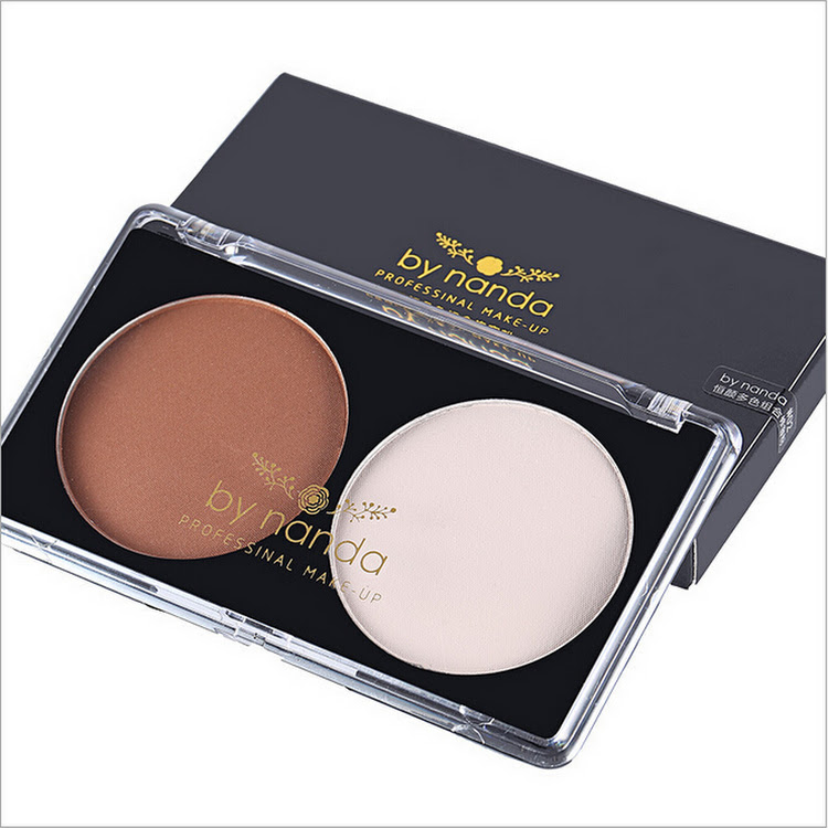 By Nanda Matte Bronzer Highlights The Shadow Powder Cake Bronzer Pressed Powder Palette Double Groom by Supermodels Secrets