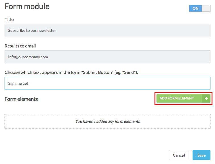 form module filled out and add form element button highlighted