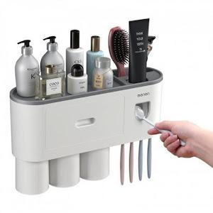 Suport 3 pahare magnetice si dispenser pasta de dinti cu 4 periute