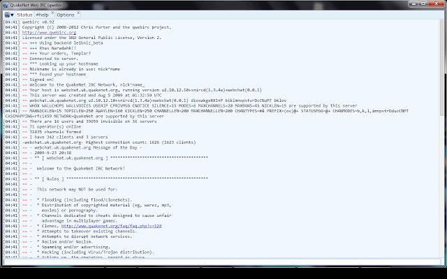 IRC QuakeNet webchat
