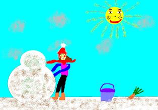 Photo: Хомченко Аня, 5 класс, Кожинская СОШ «Я его слепила, из того что было…» На рисунке я нарисовала себя за занятием лепки снеговика. Начинали лепить его с подружкой, но потом она убежала кататься на горке.