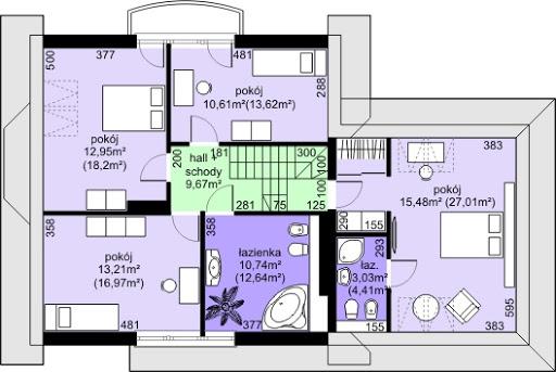 Dom przy Cyprysowej 38 - Rzut poddasza