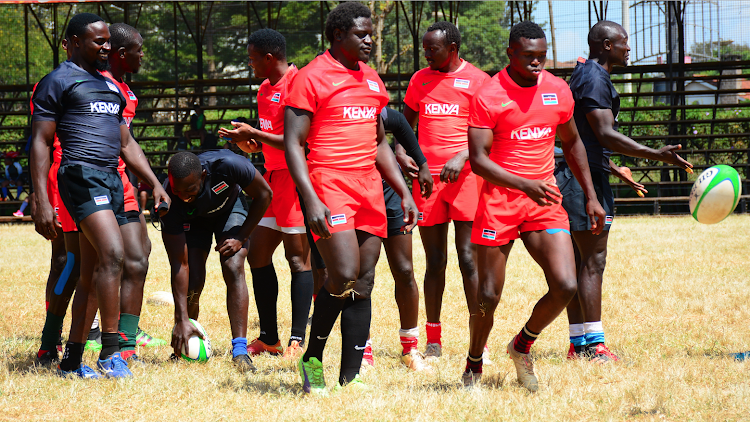 Shujaa players during a training session at RFUEA