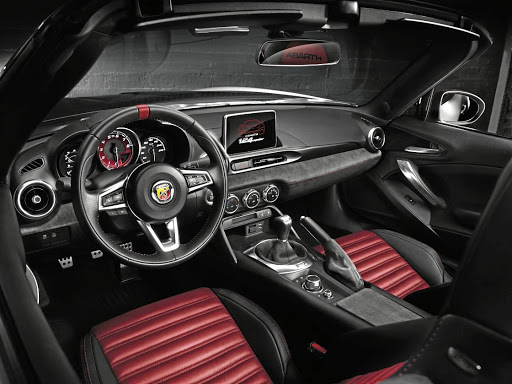 The interior, left, is mostly Mazda MX-5 with a few Abarth styling touches.  Picture: NEWSPRESS UK
