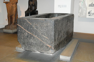 Photo: Egyptian granite sarcophagus of Hapmen with obvious traces of plasticine like stone during construction on the upper edges. British Museum.