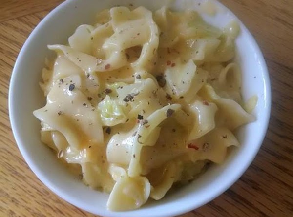 Cheesy Cabbage And Noodles. Recipe