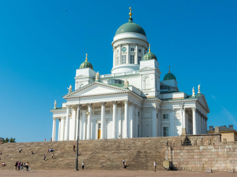 Helsinki Cathedral, a major tourist attraction in Senate Square in Helsinki.