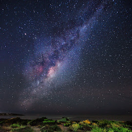 Path to the Milkyway by Nicole Rix - Landscapes Starscapes ( sand, milkyway, pathway, stars, astrophotography, beach )