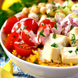Mediterranean Chicken and Chickpea Bowls with Yellow Rice.