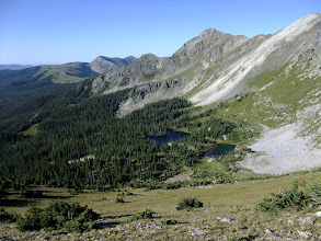 Photo: South Truchas Peak and Truchas Lakes from the slopes of North Truchas. My campsite was between the two lakes.