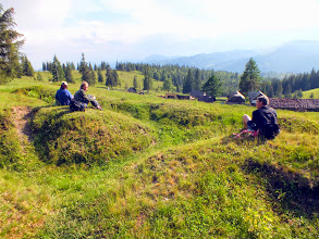 Photo: After the race, the organisers have some time to relax (close to some trenches from the WWI)...