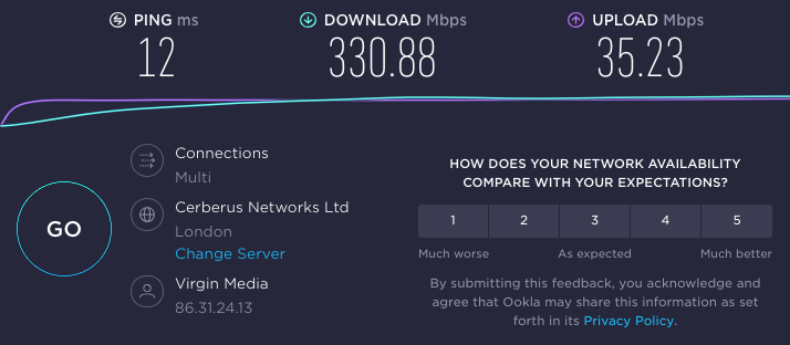 Reviewer's baseline speed test