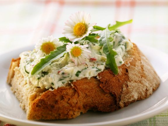 Cream Cheese with Herbs and Salad Rocket on Bread Recipe