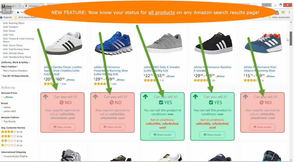 Seller permission status on Amazon product search results