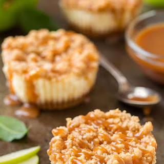 Caramel Apple Mini Cheesecakes with Streusel Topping.