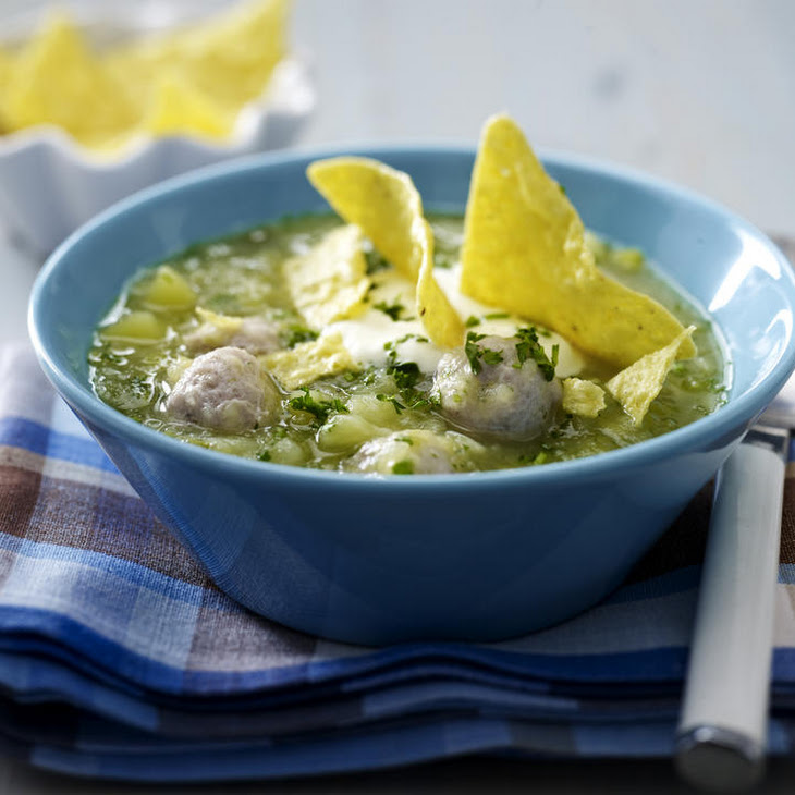 Meatball Soup with Tortilla Chips