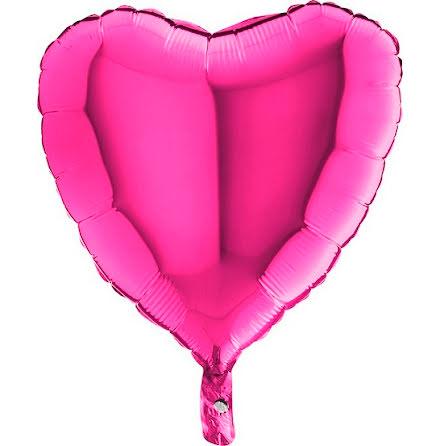 Folieballong Hjärta magenta, 46 cm