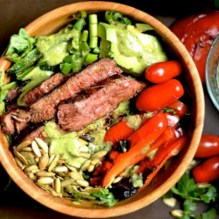 Grilled Fajita Steak Salad with Avocado Cilantro Dressing.