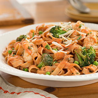 Fettuccine with Fall Veggies in a Tomato Cream Sauce