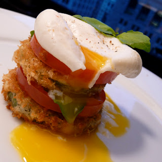 Fried Green Zebra Tomatoes with Poached Egg & Basil.